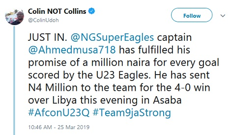 Super Eagles Striker, Ahmed Musa Gives N4M To U-23 Team After Their 4-0 Win Against Libya